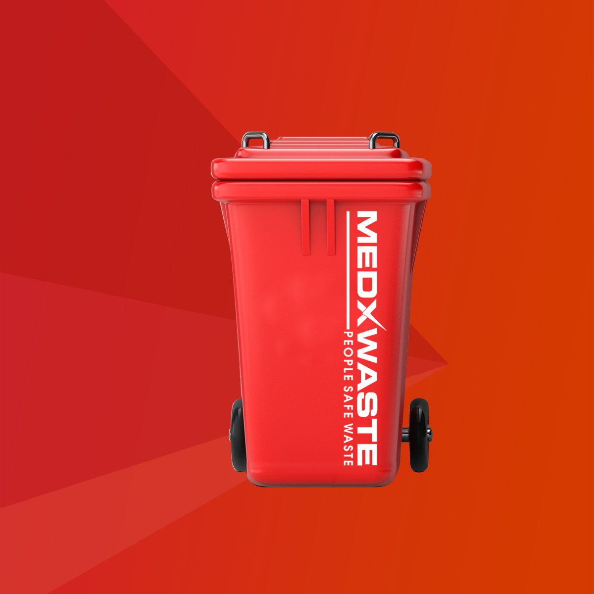 Red Garbage Trash Bin in front of brick wall. 3d Rendering